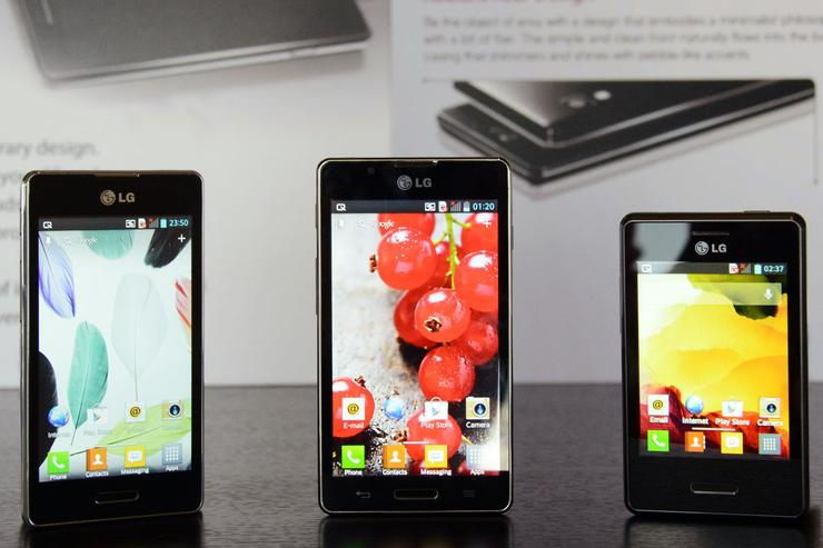The LG Optimus L5 II, L7 II and L3 II.