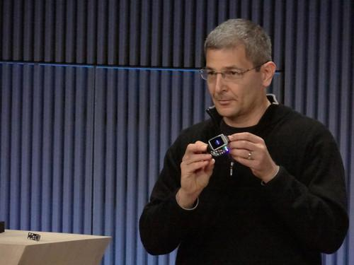 Ram Fish, vice president of digital health at Samsung Electronics, demonstrated the Simband watch concept at an event in San Francisco on Wednesday.