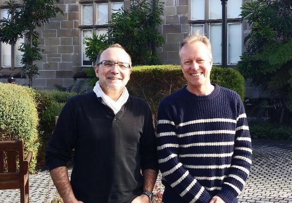 Professor Patrice Rey (left) with Professor Dietmar Muller, member and director respectively of Sydney University's Basin GENEIS Hub