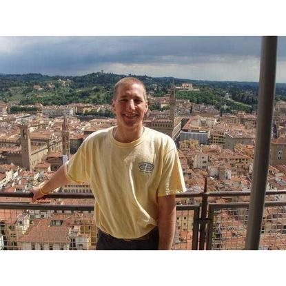 Chet Ramey, primary maintainer of Bash, atop the dome of Santa Maria del Fiore in Florence