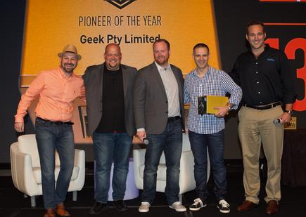 The Geek team recieving its gong at the Datto 2016 awards (l-r) Jon Paior, Rob Rae, Austin McChord, Giovanni Tirimacco and James Bergl