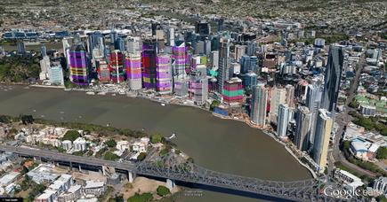 The 'Golden Triangle' leases in Brisbane's commercial district. Images are built with data rather than raster pictures. All leases are 'clickable' and drill back to source data held in Microsoft Dynamics CRM.