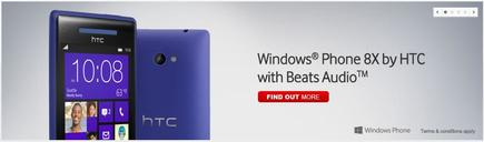 The HTC Windows Phone 8X, as it appears on the Vodafone Web site.
