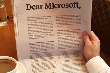 Slack's advert in The New York Times
