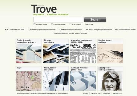 The National Library of Australia&#39;s Trove search engine has an open source backing