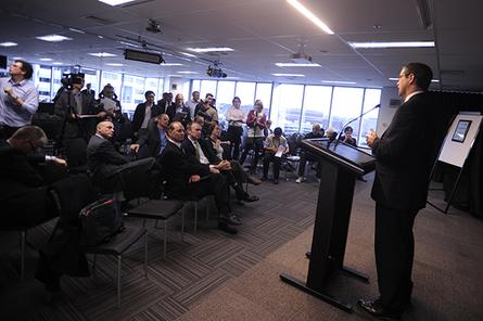 Communications minister, Stephen Conroy, launches Macquarie Telecom&#39;s new call centre.