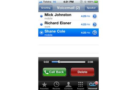 Telstra's Visual Voicemail service for iPhone