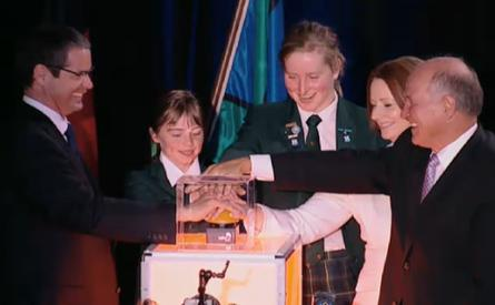 The great NBN button push: Prime Minister Julia Gillard, Senator Stephen Conroy and independent MP Tony Windsor (right) together with two local school students officially turn on the National Broadband Network in the city of Armidale, NSW. Armidale is the first city on the Australian mainland to switch on the fibre network.