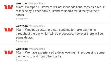 Updates on Westpac&#39;s Twitter page