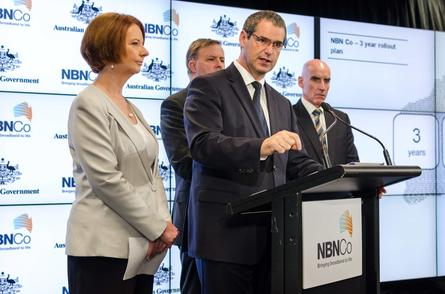 Prime Minister Julia Gillard, Senator Stephen Conroy and NBN Co CEO, Mike Quigley.