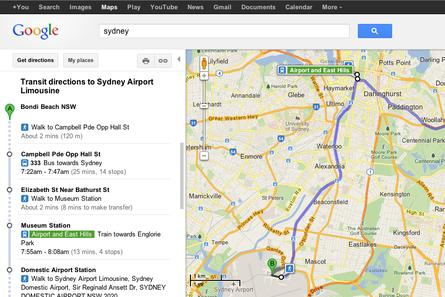 Google Maps directions now include train, bus and ferry in NSW.