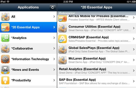 SAP&#39;s enterprise app store running on an iPad.