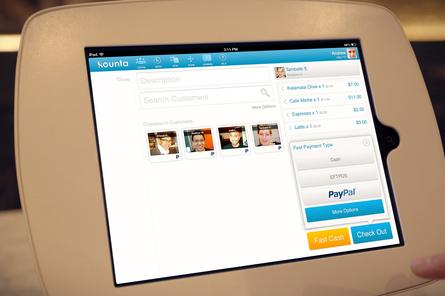 PayPal&#39;s new check-in payment service running in Kounta software. Credit: PayPal