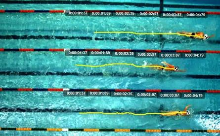A screen shot from one of the overhead IP cameras at the Sydney Aquatic Centre showing swimmer's strokes and times. This data will be used to help NSW Institute of Sports swim teams prepare for the 2016 Olympic Games in Brazil.