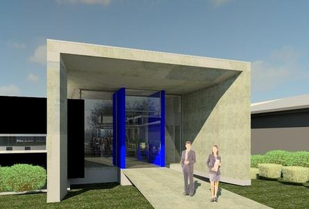 An artist's impression of the entry to Macquarie Telecom's IC4 security data centre in Canberra. The facility will be completed by mid-2013.