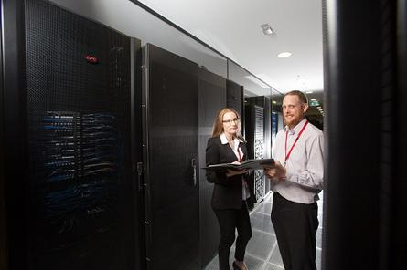 ATechnology director Sarah-Jane Peterschlingmann with IT manager Andrew Ruller inside iseek's data centre at Brisbane airport.