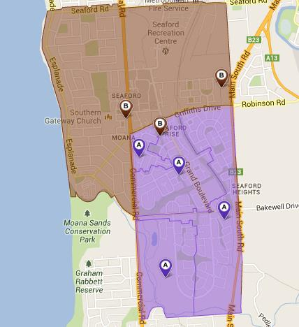 Seaford NBN footprint. Credit: NBN Co, Google
