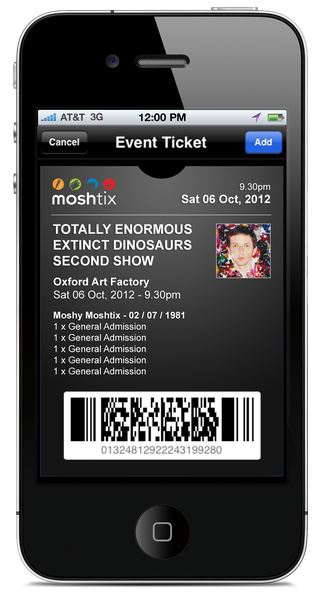 A mockup of a Moshtix ticket on the Passbook app.