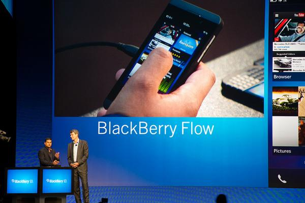 The BlackBerry 10 operating system being demonstrated at a launch event in New York.