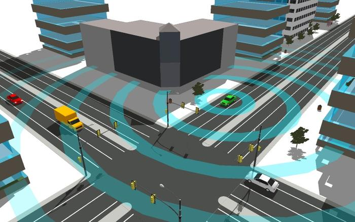 802.11p wireless and GPS let cars see threats around blind corners. Credit: Cohda Wireless