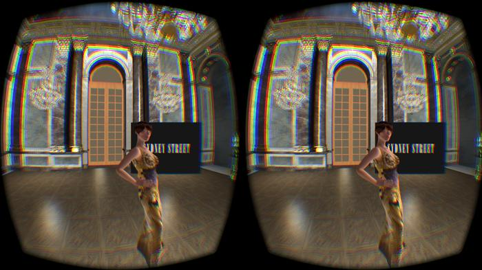 Sydney Street's virtual fashion show. Viewed through an Oculus Rift headset, the dual images seen here merge into one 3D image.